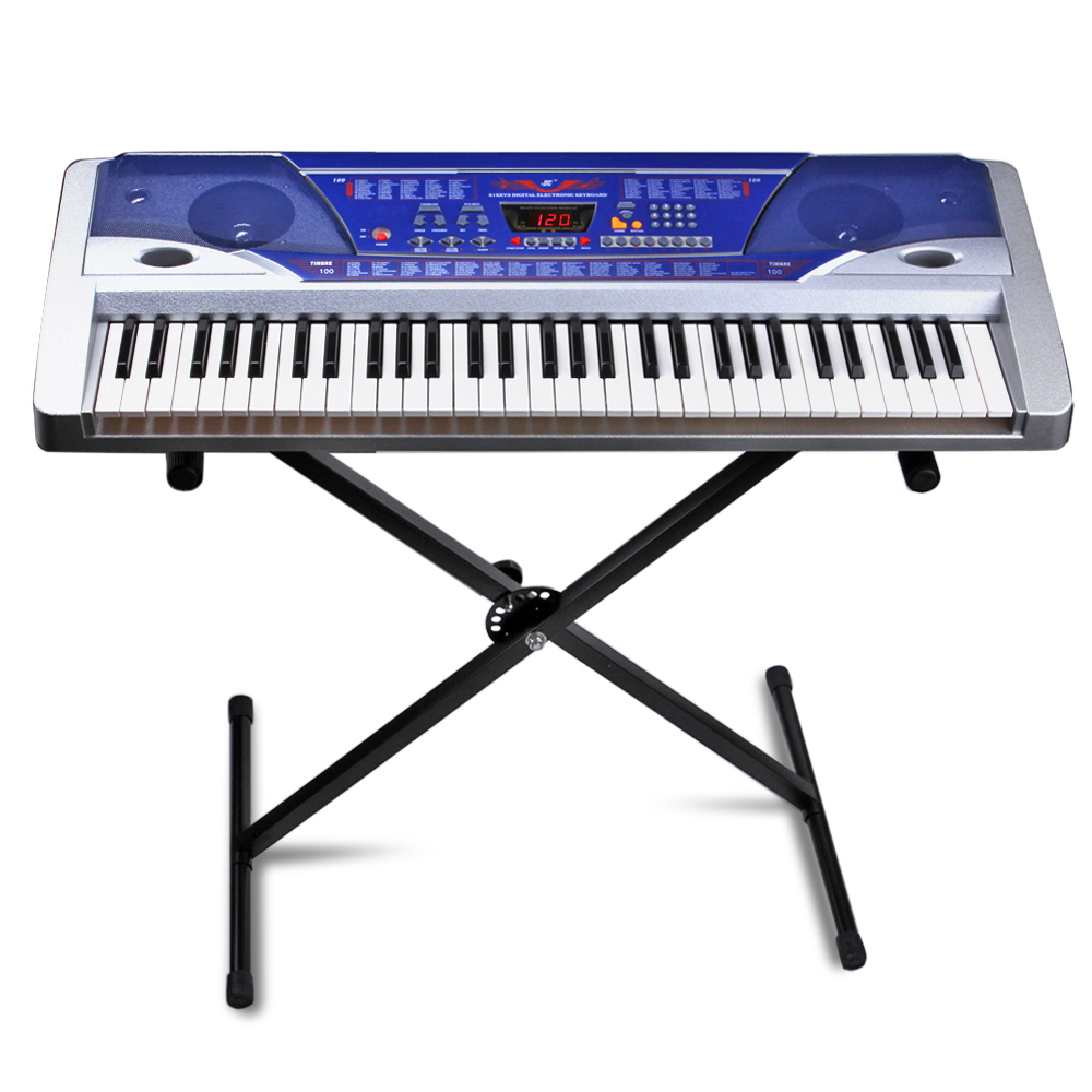 Electric Piano Keyboard 61 Key Digital Key Board Portable With LCD Display Screen 100 Timbres and Power Supply Multi Function Musical Instrument Gift in Blue