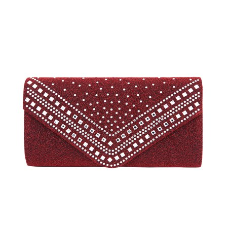 Metallic Leather Flap Clutch - Premium Crystal Metallic Glitter Flap Clutch Evening Bag Handbag