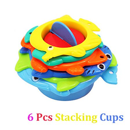 Baby Bath Time Stacking Cups Set- Best Educational Bath Toy for Kids Sea Animals stacking