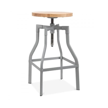 Machinist Grey Adjustable Steel Barstool Ash Wood Seat 26 - 32 Inch ()