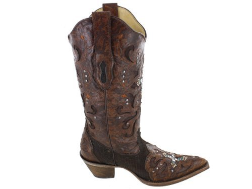 CORRAL Women's C1104 Python Crystal Cross Brown Fashion Boots 7 M