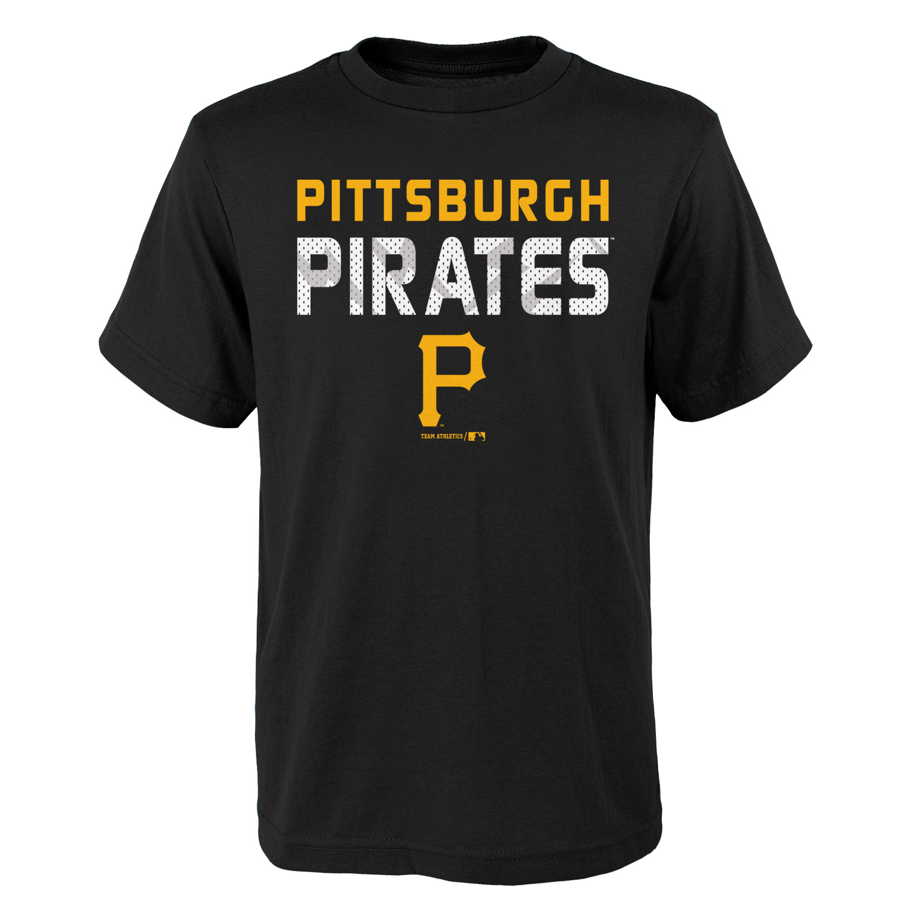 MLB Pittsburgh PIRATES TEE Short Sleeve Boys Team Name and LOGO 100% Cotton Team Color 4-18
