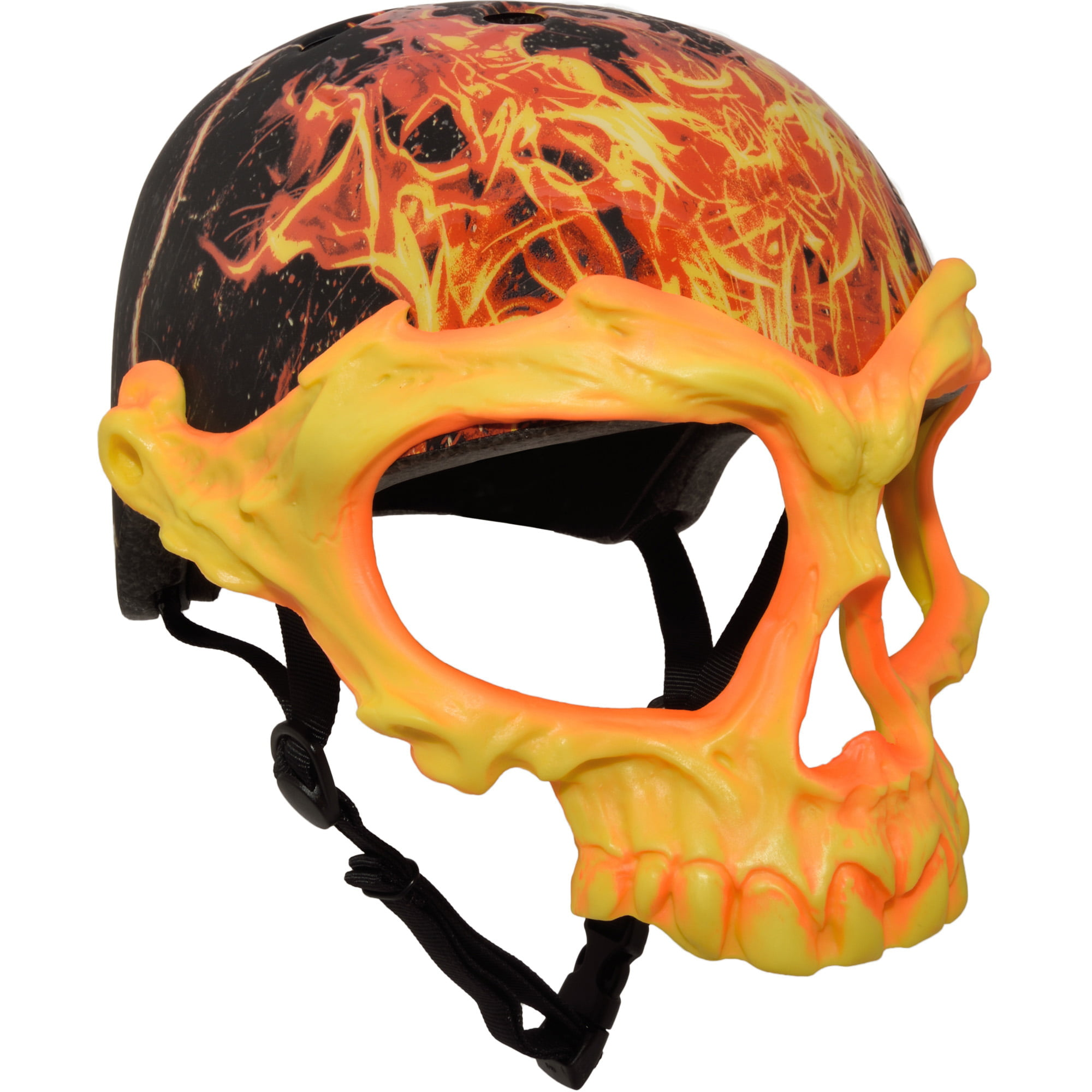 C-Preme Krash Inferno Skull Mask Youth Bike Skate Helmet, Yellow by Vista Outdoor