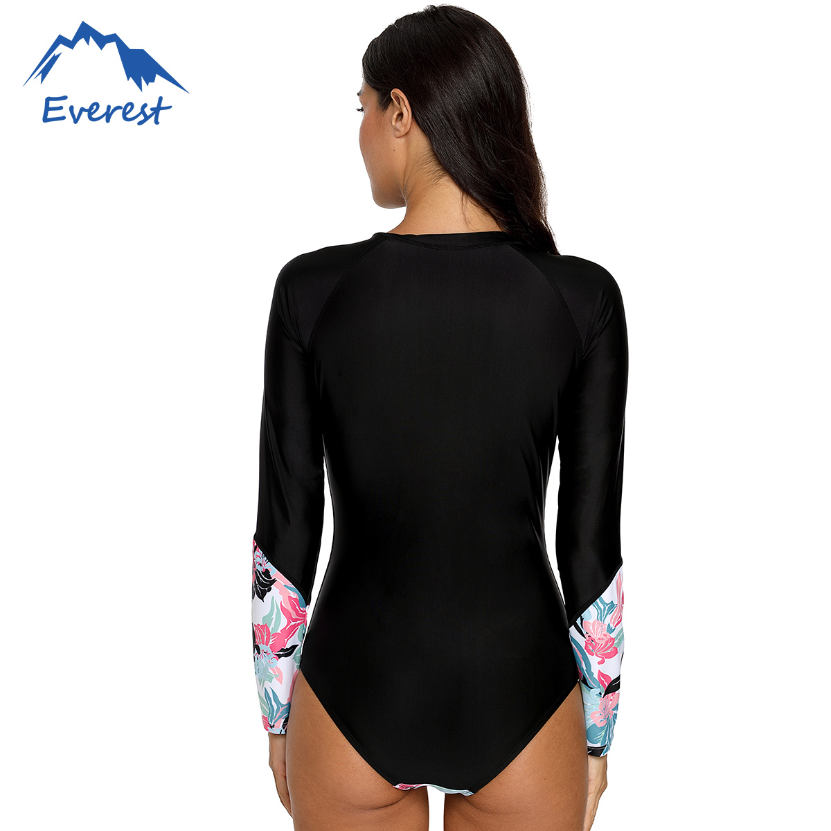 Womens Long Sleeve One Piece Swimsuit Zip Back Printed Surfing Suit Wetsuit Monokini Sun Protection Bikini