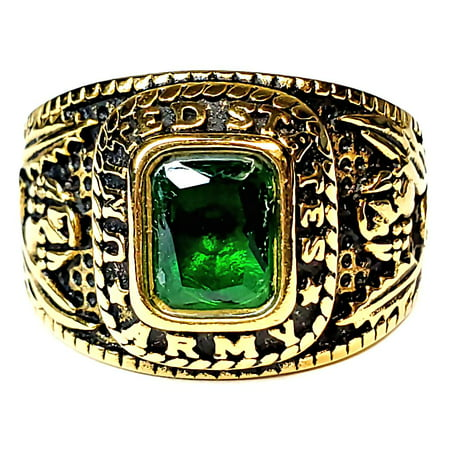 Trustmark Mens Simulated Emerald US Army Gold-Tone Stainless Steel Military Ring s9.0 ()