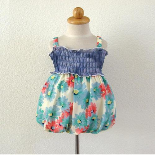 Turquoise Floral Denim Bubble Baby Girl Casual Dress 12M