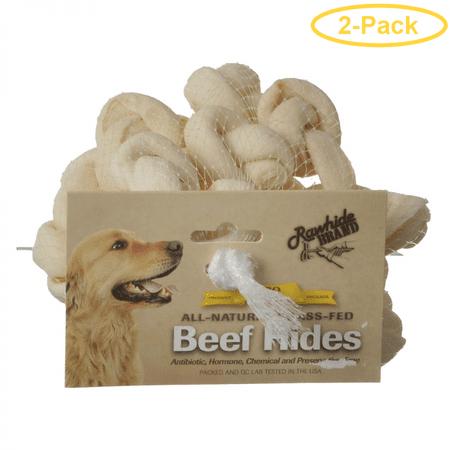 Hide Knotted Bones (Rawhide Brand Eco Friendly Beef Hide Natural Safety-Knot Bones 2 Bones (12 Pack) - Pack of)
