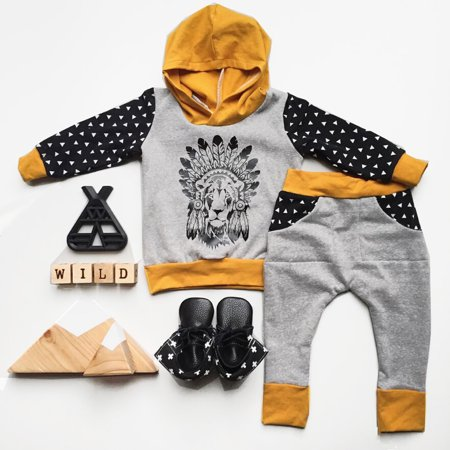 Wild Chief Toddler Newborn Baby Boys Girl Hooded Outfit Clothes T-shirt Tops+Long Pants 2PCS Set 0-6 -
