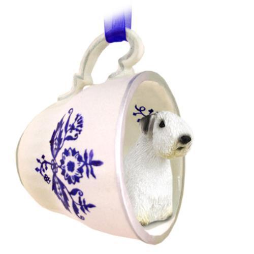 BTCD125 Sealyham Terrier Tea Cup Blue Ornament by