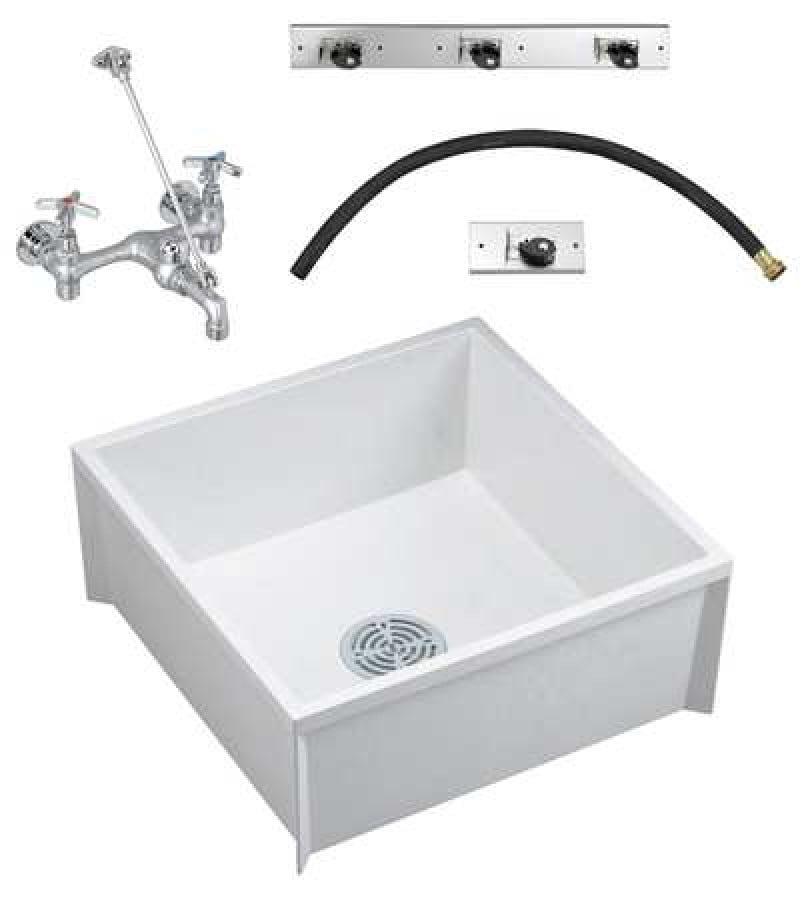 Fiat Products Msbidtg2424100 24 In W X 24 In L X 10 In H Molded Stone Mop Sink Kit Walmart Com Walmart Com