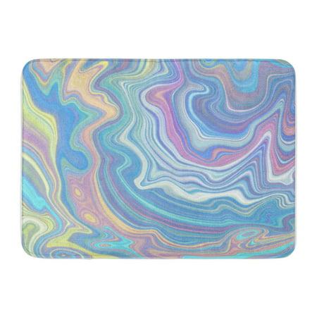 M/t Fluid - KDAGR Pastel Holographic Multicolor Marbling Opal Agate Marble Nacre Fluid Doormat Floor Rug Bath Mat 23.6x15.7 inch