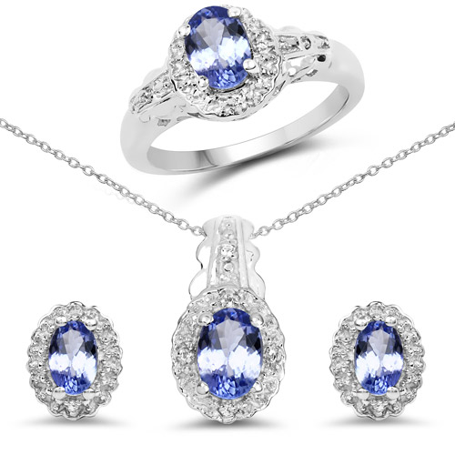 2.50 ct. Genuine Tanzanite and White Topaz Sterling Silver Ring, Pendant & Earrings Set
