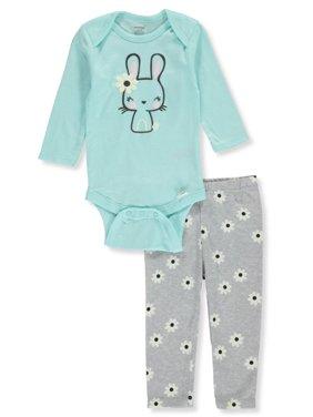 Onesies Baby Girls' Bunny Flowers 2-Piece Layette Set