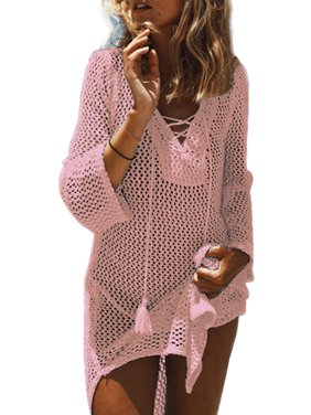 e1740a0cc1 Product Image Women Swimwear Cover Ups Knit Bikini Beach Tops Hollow Out Swim  Bathing Suit V Neck Crochet