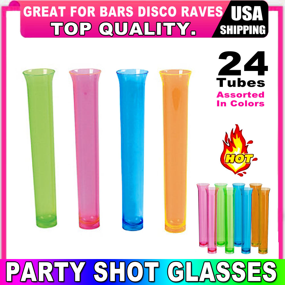 24 Party Tube Shot Glasses Test Clear Neon Plastic Shooter Bar Luau Birthday New by Regent Products