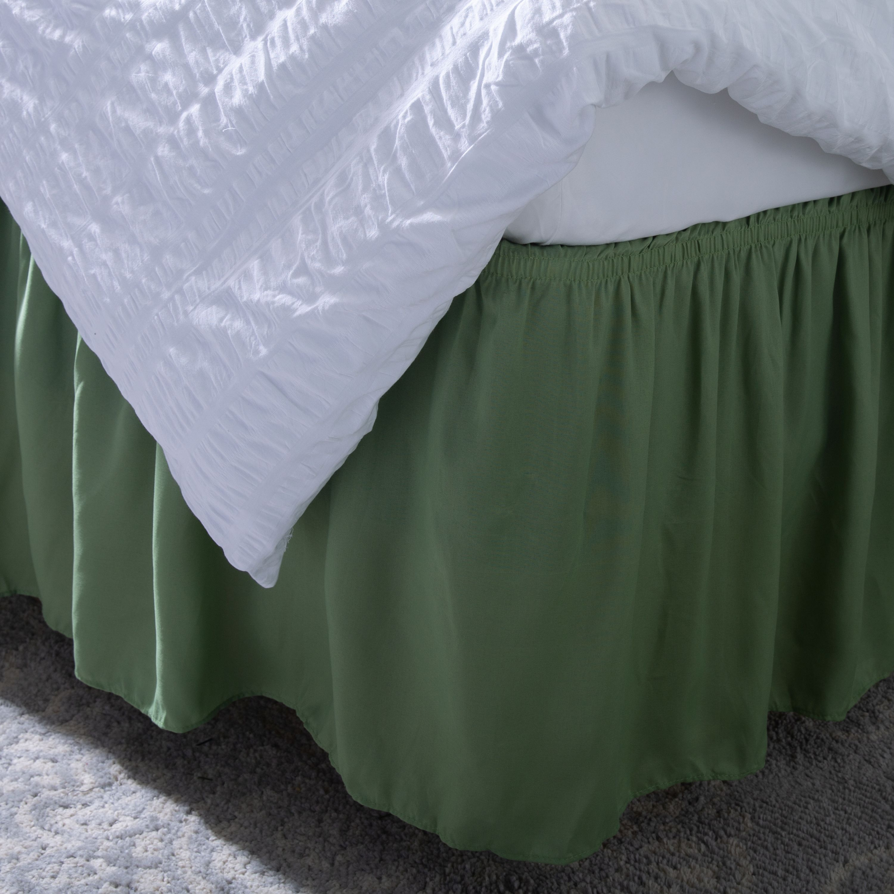 Olympic Queen, Camel Ruffled Bed Skirt Available in all bed sizes and 16 colors 14 Inch Drop Dust Ruffle with Platform Wrinkle and Fade Resistant
