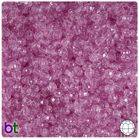 BeadTin Light Fuchsia Transparent 4mm Faceted Round Craft Beads (1250pcs)