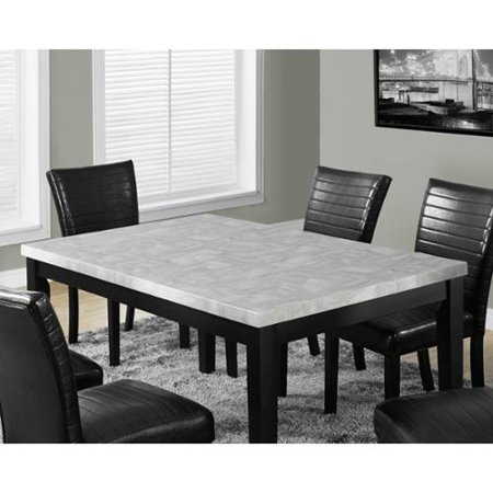 Monarch Specialties Grey Laquered Marble Look Dining Table