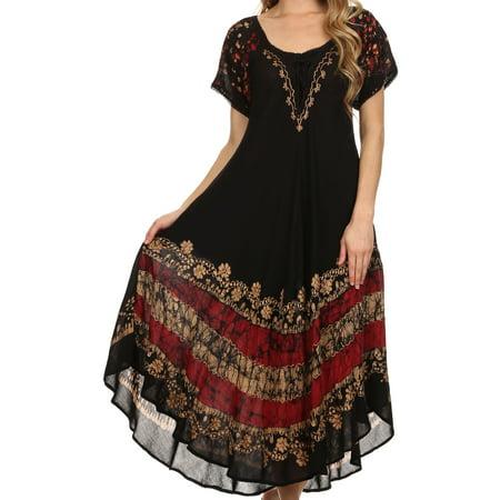 Sakkas Sara Batik CaftanTank Dress / Cover Up - Black / Red - OS