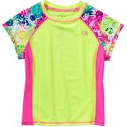 Girls Size X-Small (4-5) UPF 50+ Short Sleeve Rashguard Shirt, Astro Yellow