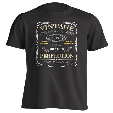 59th Birthday Gift T-Shirt - Born In 1958 - Vintage Aged 59 Years To Perfection - Short Sleeve - Mens - Black - Small T Shirt - (2017 (Grey 59 Clothing)