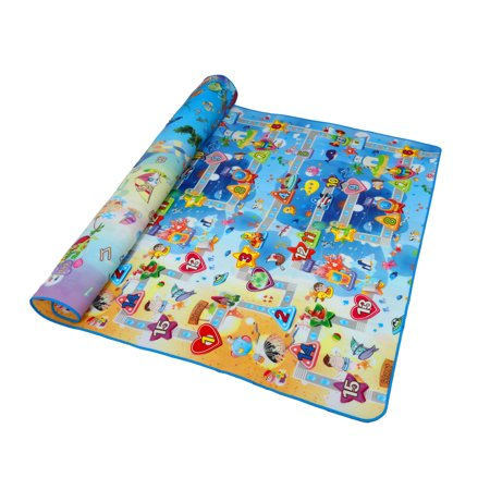 DOUBLE SIDED BABY CRAWLING PLAY MAT - Extra Large Reversible Mat - Crawling Man