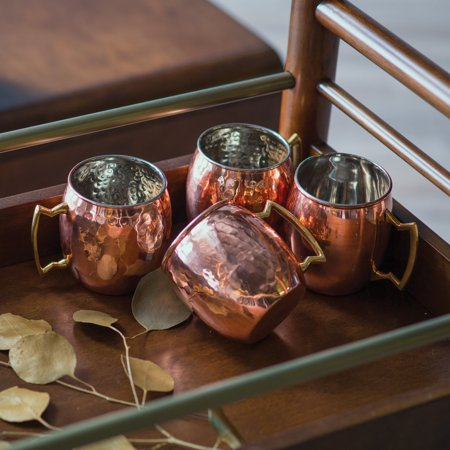 16 Oz  Solid Copper Moscow Mule Mugs, Hammered Finish, Set of 4