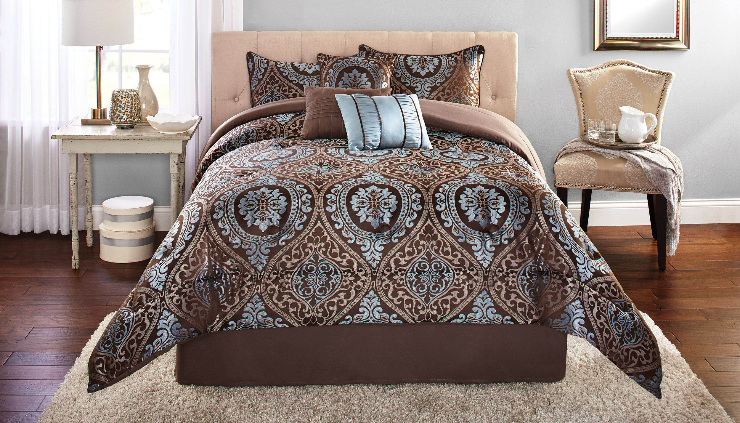 Mainstays Bedding Comforter 7 Piece Victoria Jacquard Bed Cover Full Queen Brown