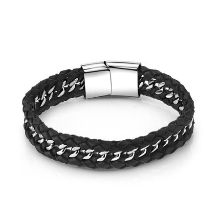 Men S Stainless Steel And Black Braided Leather Bracelet