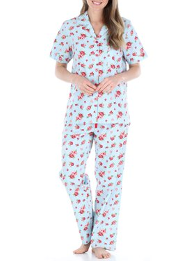Sleepyheads Women's Poplin Cotton Button Up Top and Pants Pajama Set
