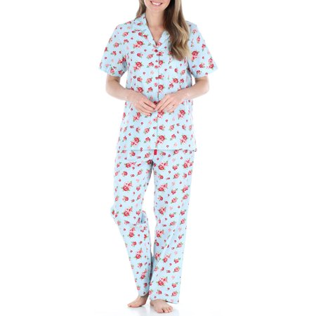 Sleepyheads Women's Poplin Cotton Short Sleeve Button Up Top and Pants Pajama Set