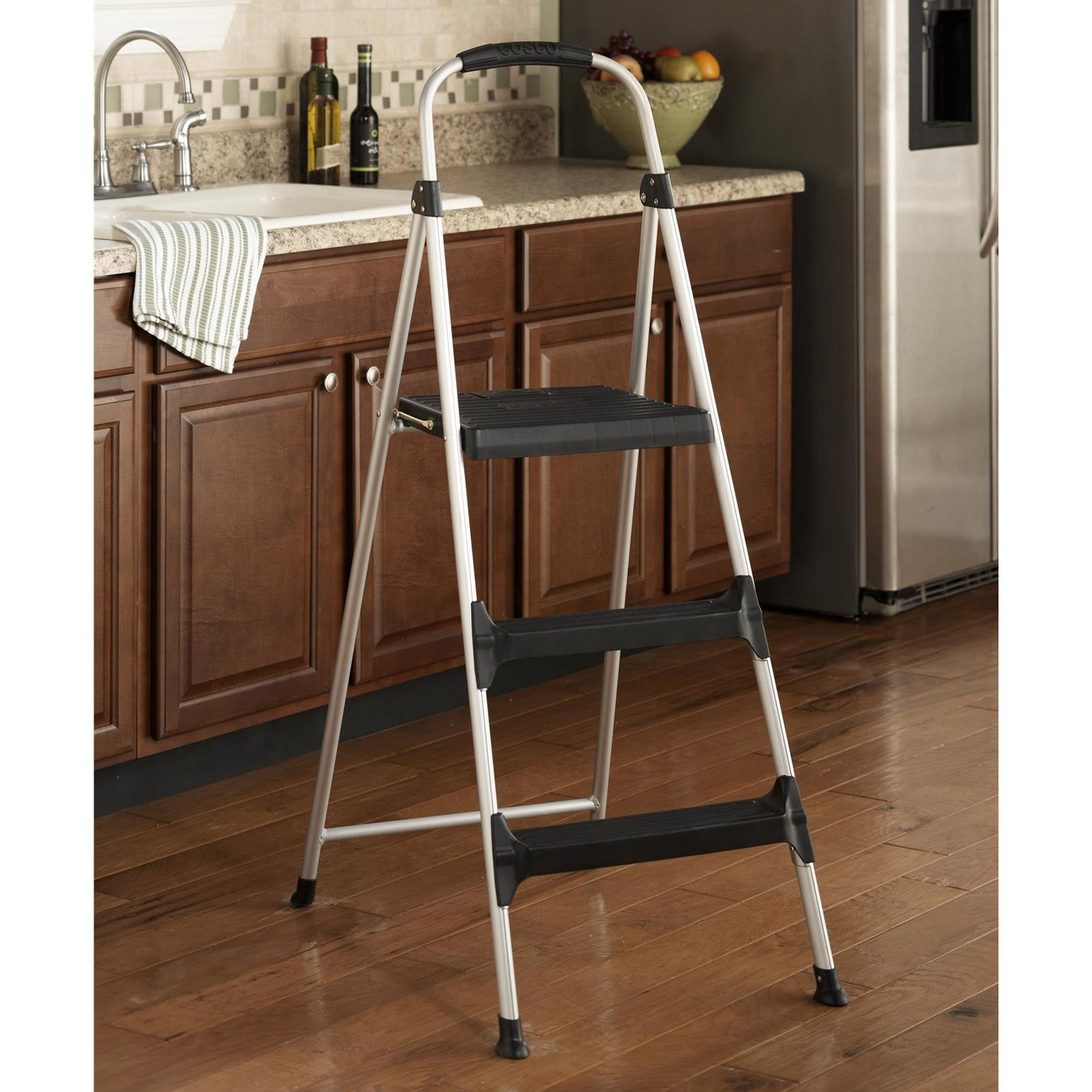 Cosco 3 Step Folding Step Stool With Handle Grip Walmart Com