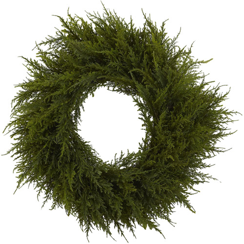 "Nearly Natural 24"" Cedar Wreath"
