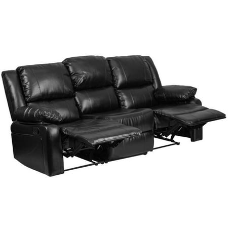 Pemberly Row Leather Reclining Sofa in Black