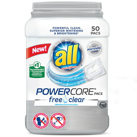 all PowerCore Pacs Laundry Detergent, Free Clear for Sensitive Skin, 50 Count