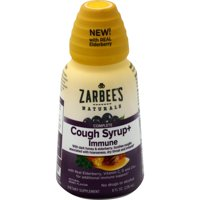 Zarbee's Naturals Complete Daytime Cough Syrup + Immune with Dark Honey, Real Elderberry, Vitamin C,D and Zine for additional immune support*, 8 Fl. Ounces (1 Bottle)