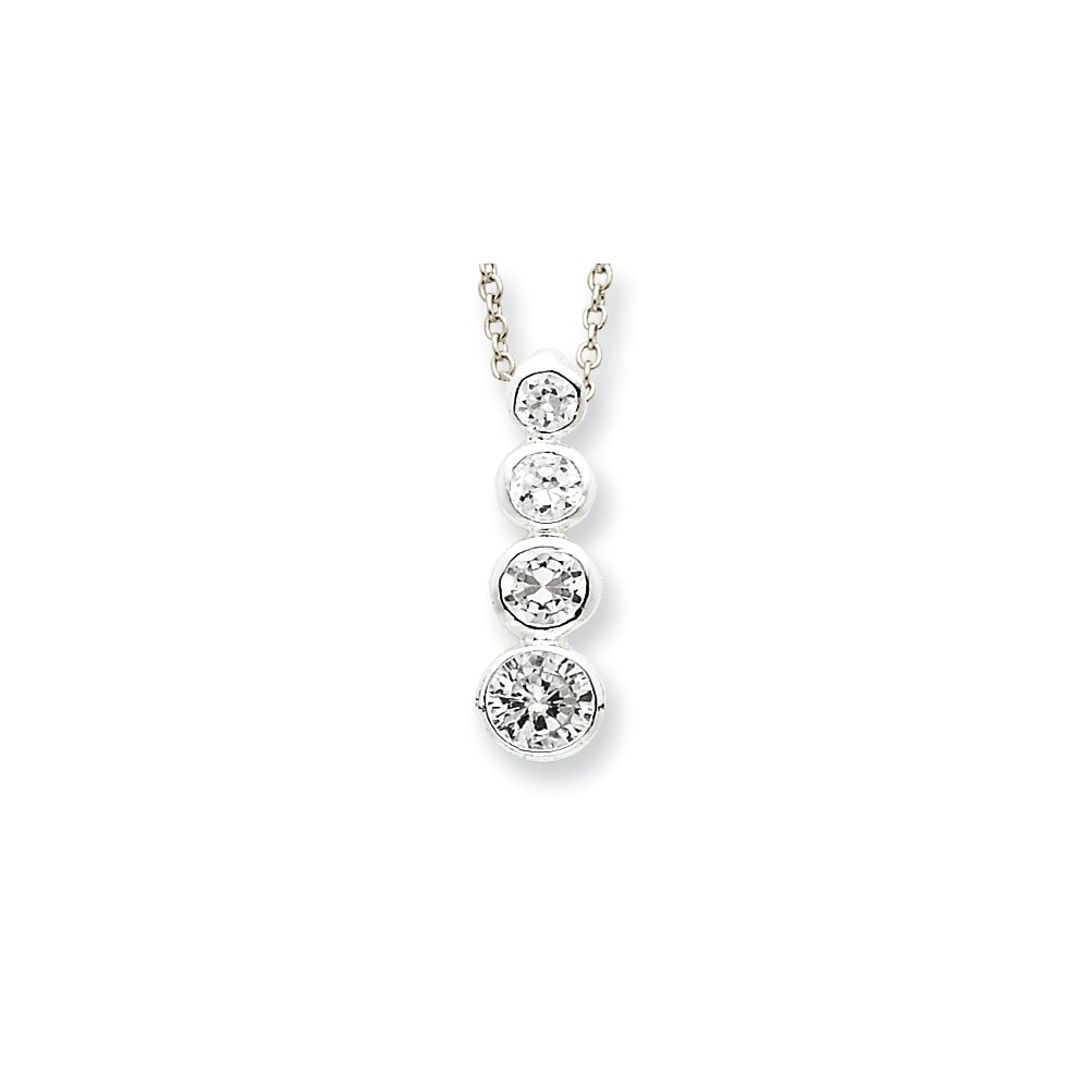 Sterling Silver 18in CZ Journey Necklace