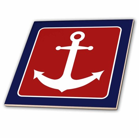 Blue Tile Design - 3dRose Red White and Blue Nautical Anchor Design - Ceramic Tile, 4-inch