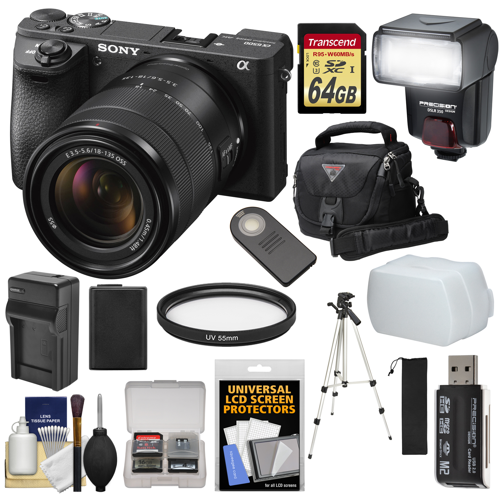 Sony Alpha A6500 4K Wi-Fi Digital Camera & 18-135mm Lens with 64GB Card + Battery & Charger + Case + Tripod +... by Sony