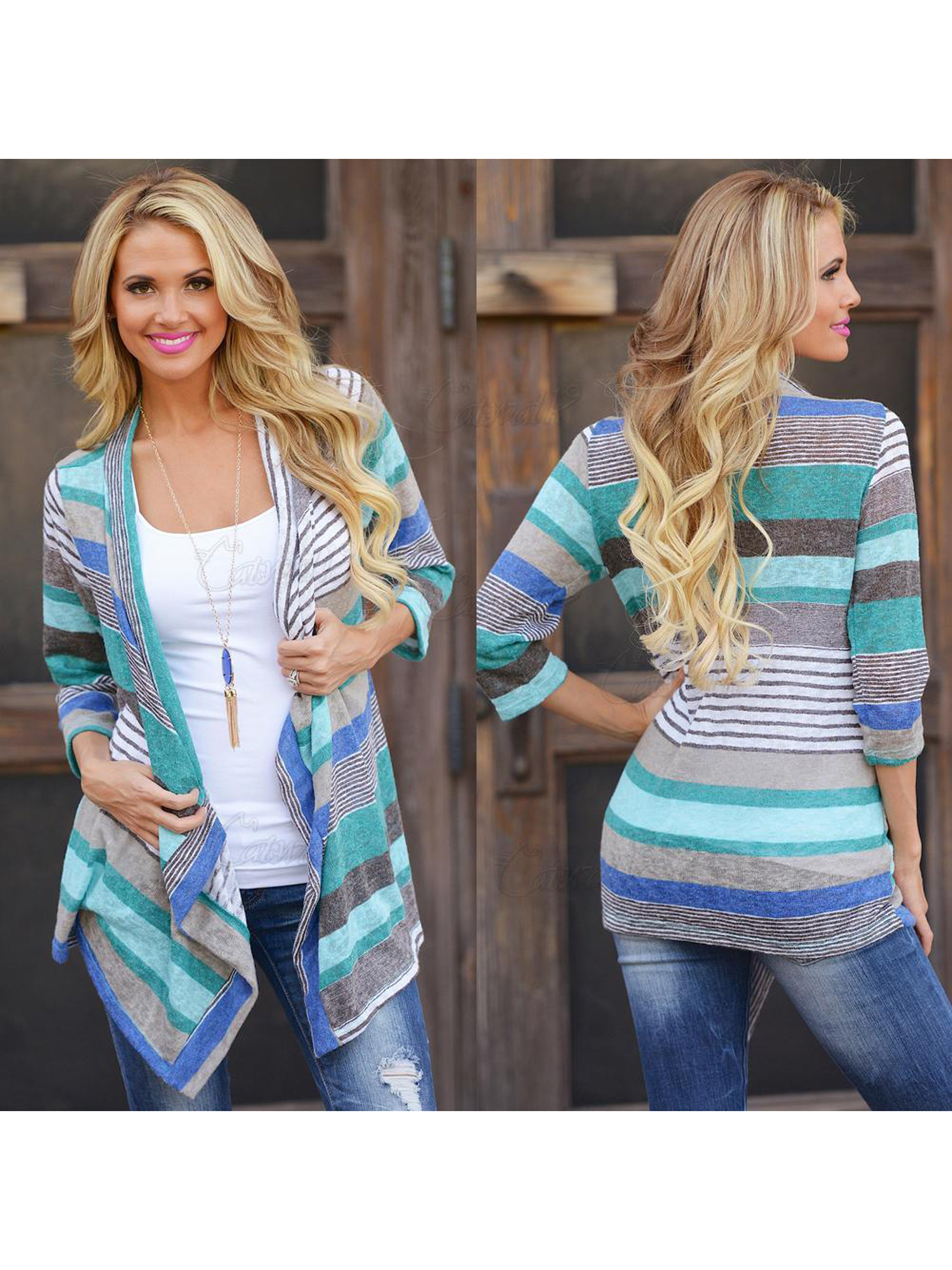 Black Friday Clearance! Blue Striped Printed Lightweight Kimono Cardigan for Women, Open Front Draped Kimono Loose Cardigan Sweater for Juniors, 3/4 Sleeve Knitted Cardigan Gift for Ladies,S-XL