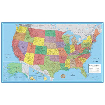 24x36 United States, USA, US Classic Elite Wall Map Mural Poster Folded (Usa Map Mural Banner)