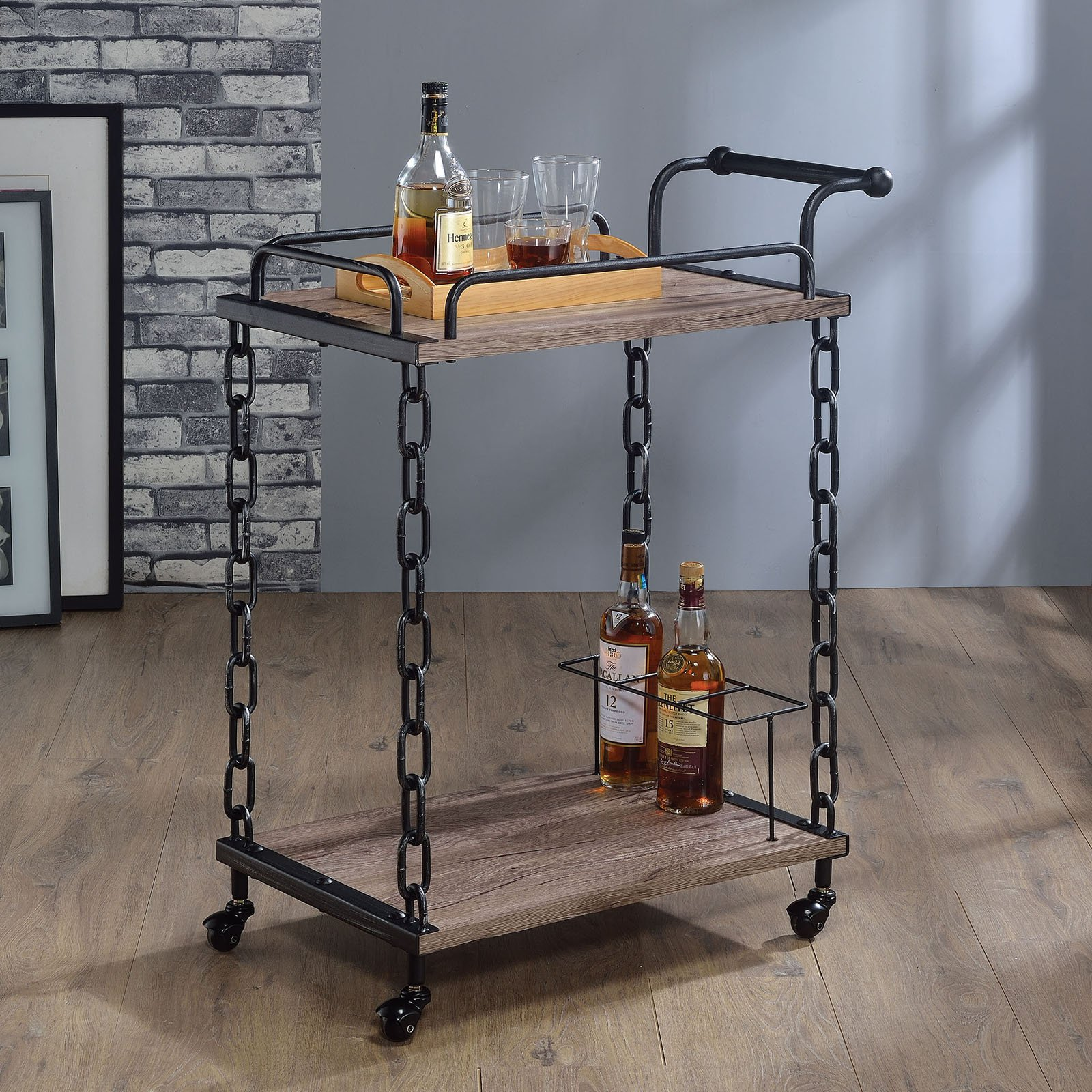 ACME Jodie Serving Cart, Rustic Oak and Antique Black by Acme Furniture