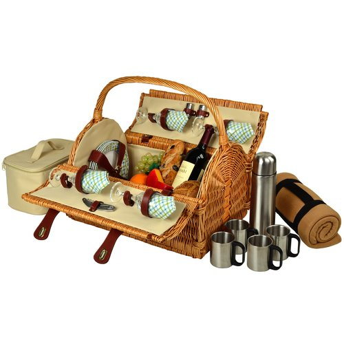 Picnic At Ascot Yorkshire Picnic Basket with Blanket and Coffee Flask for Four