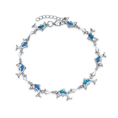 Nautical Dolphin Beach Ocean Blue Inlay Created Opal Charm Link Bracelet For Women 925 Sterling Silver Blue Created Opal Inlay Bracelet