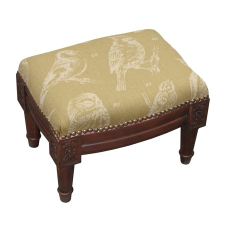 123 Creations Bird Watch Wood Upholstered Footstool with Nail Heads
