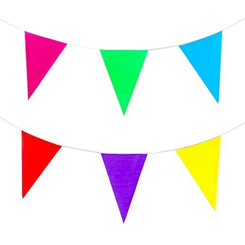 100 Foot Long Multicolored Plastic Pennant Rainbow Banner Party Decorations by Super Z Outlet