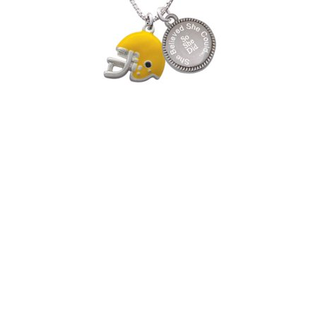 Silvertone Small Yellow Football Helmet She Believed She Could So She Did Engraved Necklace - Small Football Helmets