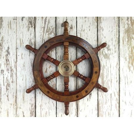 "12"" Wood / Brass Ship Wheel - Wooden Ship"