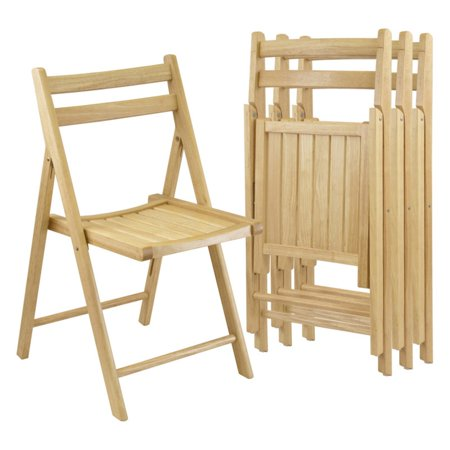 Winsome Wood Folding Chairs, Set of 4, Natural Finish