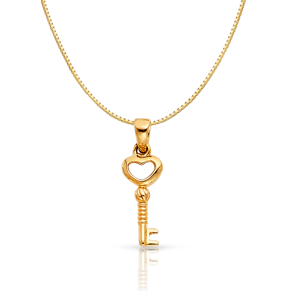 14K Yellow Gold Turtle Charm Pendant with 0.8mm Box Chain Necklace